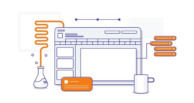 Sito web icona delle lezioni di chimica online illustrazione vettoriale di un laboratorio chimico in due colori