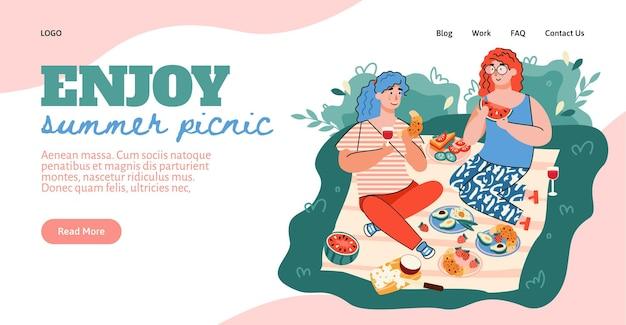 Interfaccia del sito web con intestazione che chiama per godersi un picnic estivo e una coppia che mangia all'aperto piatto vettoriale ...