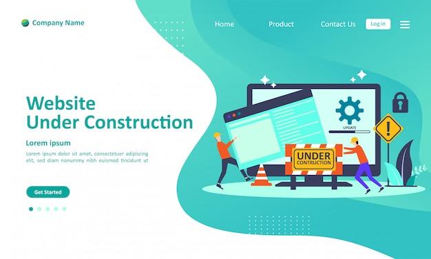 Il sito web è in fase di costruzione Vettore Premium