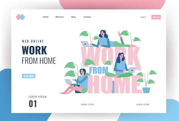 Pagina di destinazione del sito web sul concetto di quarantena domestica. gruppo di donna che lavora da casa. illustrazione