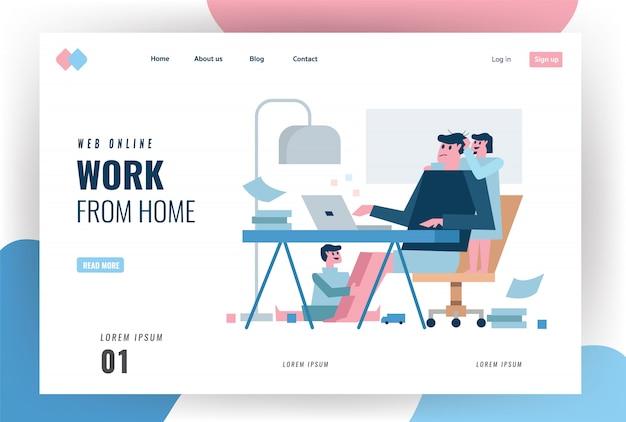 Pagina di destinazione del sito web sul concetto di quarantena domestica. padre multitasking che lavora da casa con i bambini. illustrazione