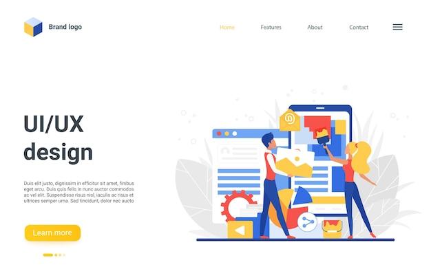 Progettazione della pagina di destinazione del sito web con il team di creatori di piccole persone piatte del fumetto
