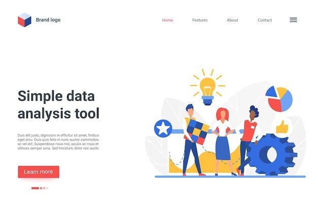 Progettazione della pagina di destinazione del sito web con carattere di analista aziendale piatto che lavora al computer portatile