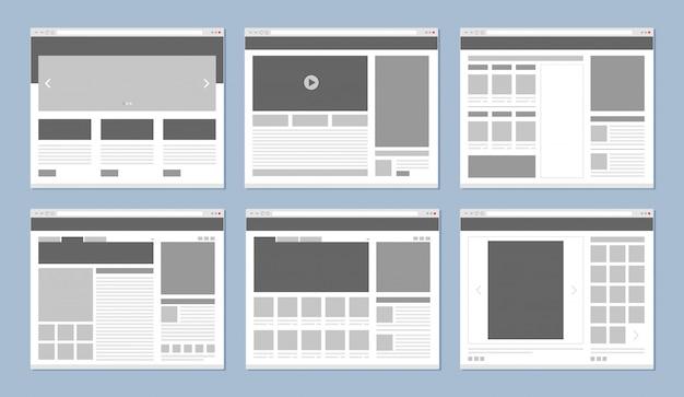 Layout del sito web. finestra del browser di internet del modello di pagine web con il vettore delle icone degli elementi di ui e delle insegne