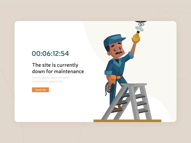 Modello di pagina piatta di manutenzione del sito web