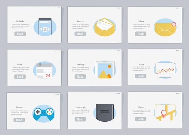 Diagrammi di flusso di siti web e dispositivi mobili con icone in stile.