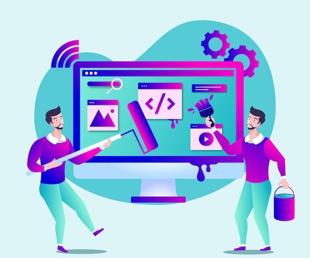 Sviluppo della pagina del sito web o illustrazione della manutenzione del sito web Vettore Premium