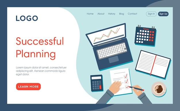Modello di pagina del sito web di pianificazione di successo