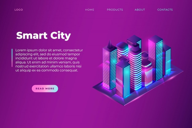 Modello di pagina del sito web con testo smart city e città di notte al neon isometrica, edifici intelligenti. blocco immagine e blocchi di testo. vettore