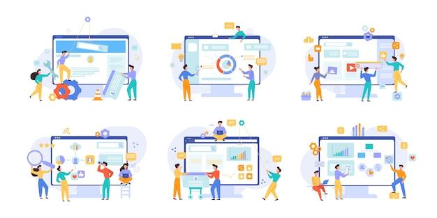 Insieme di illustrazioni di vettore di prestazioni del sito web e analitica aziendale
