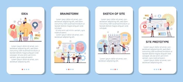 Set di banner per applicazioni mobili di prototipazione di siti web