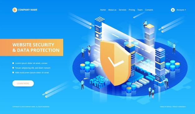 Illustrazione di sicurezza del sito web e protezione dei dati
