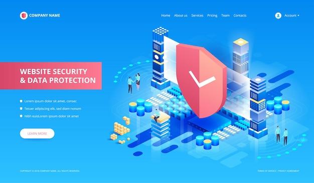 Sicurezza del sito web e protezione dei dati. illustrat isometrico