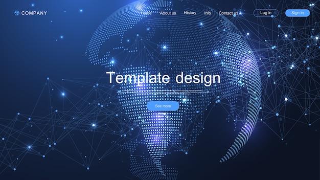 Progettazione del modello di sito web. asbtract sfondo con il punto della mappa del mondo e il concetto di composizione di linee del business globale. tecnologia internet. pagina di destinazione moderna per siti web.