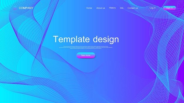 Progettazione del modello di sito web. asbtract background scientifico con onde dinamiche colorate, modello di innovazione. pagina di destinazione moderna per siti web o app.