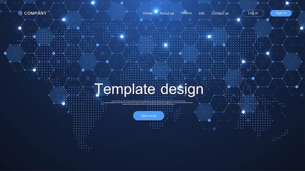 Progettazione del modello di sito web. dati del mondo che collegano il concetto di rete e comunicazione con punti della mappa pagina di destinazione moderna.