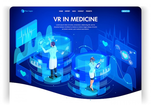 Modello di sito web. concetto isometrico realtà aumentata per la medicina, i medici lavorano su schermi virtuali. pagina di destinazione del web design. facile da modificare e personalizzare