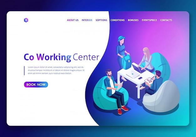 Modello di sito web. concetto isometrico area di lavoro aperta e coworking. concetto di landing page. illustrazione isometrica. facile da modificare e personalizzare
