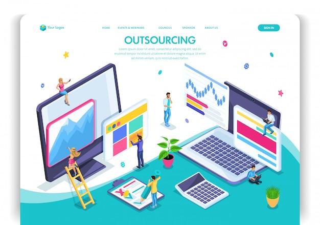 Modello di sito web. concetto isometrico di outsourcing. assumere un dipendente remoto, designer, programmatore, copywriter. facile da modificare e personalizzare la pagina di destinazione, ui ux