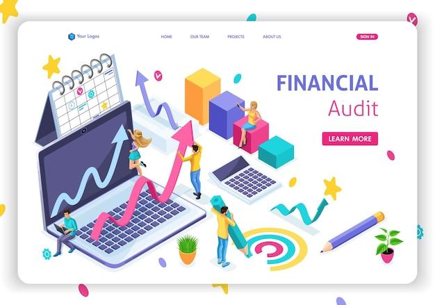 Modello di sito web pagina di destinazione concetto isometrico gestione finanziaria, audit finanziario, pianificazione e strategia. facile da modificare e personalizzare.