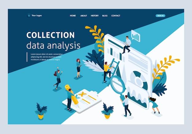 Modello di sito web pagina di destinazione concetto isometrico giovani imprenditori, raccolta dati, analisi dei dati. facile da modificare e personalizzare.
