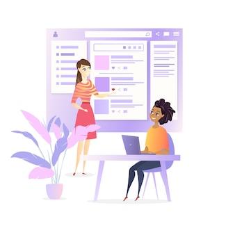 Progetto di social media per l'ui developer design del sito