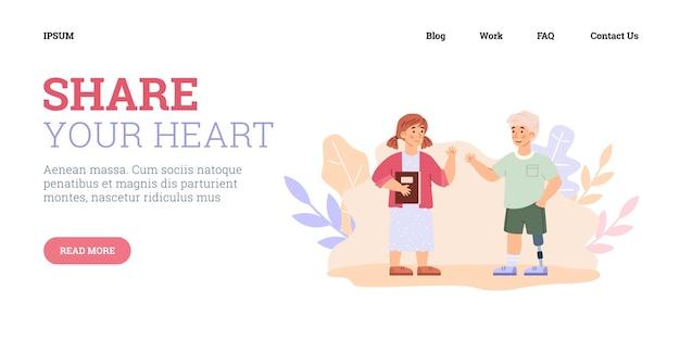 Sito web con illustrazione vettoriale di cartoni animati per bambini disabili e sani
