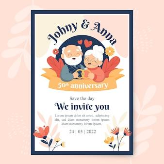 Modello di invito per l'anniversario di matrimonio