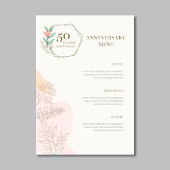 Menu anniversario di matrimonio