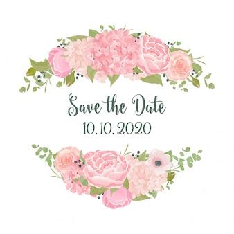 Sfondo di matrimonio con fiori estivi romantici