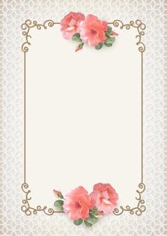 Sfondo di matrimonio con cornice in oro vintage e fiori