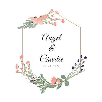 Distintivo di nozze con una bella cornice floreale