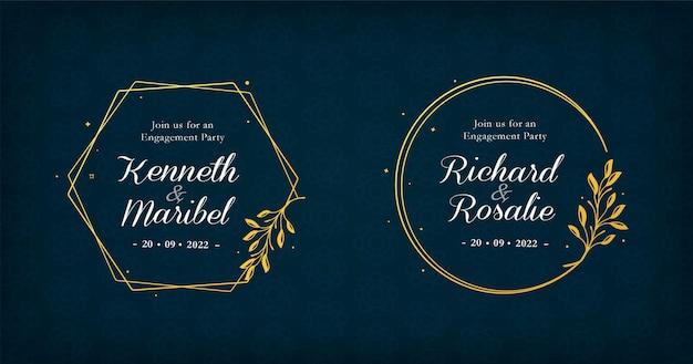 Collezione di distintivi di nozze con cornici dorate