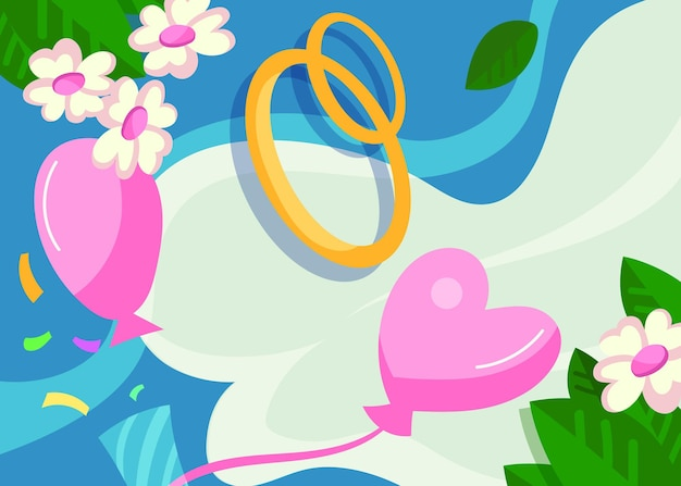 Banner di matrimonio con anelli e palloncini. cartello design in stile cartone animato.