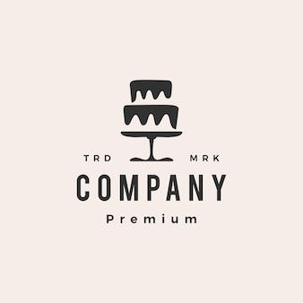 Logo vintage hipster del negozio di panetteria della torta nuziale