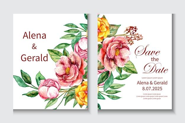 Partecipazione di nozze bellissimo fiore primavera sfondo bianco