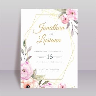 Modello di progettazione dell'invito della partecipazione di nozze con disegno floreale