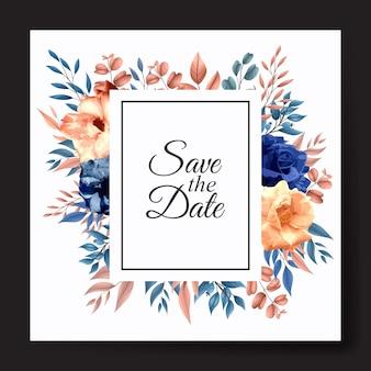 Modello floreale rosa invito carta di nozze