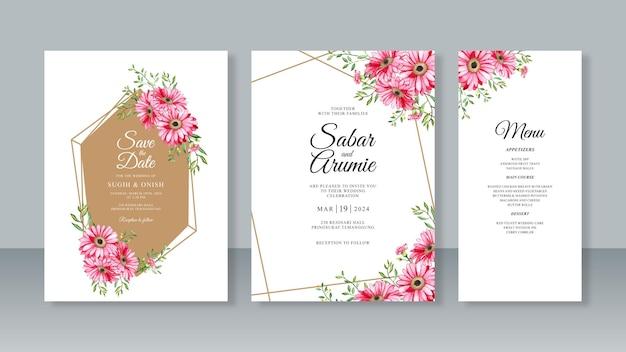 Modello di set di inviti per partecipazioni di nozze con bordo geometrico e fiori ad acquerello