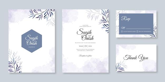 Modello stabilito dell'invito della carta di nozze con le foglie dell'acquerello