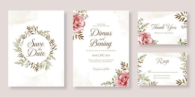 Set di inviti per partecipazioni di nozze con fiori ad acquerello dipinti a mano