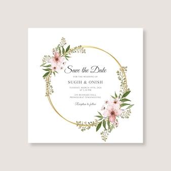 Modello di invito carta di nozze con acquerello floreale Vettore Premium