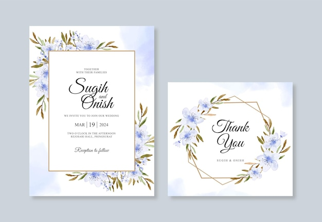 Modello di invito carta di nozze con acquerello floreale
