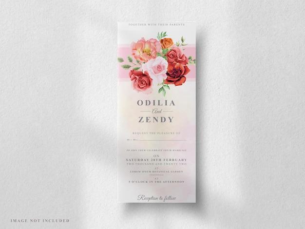 Set di partecipazioni di nozze rosa rossa e peonia