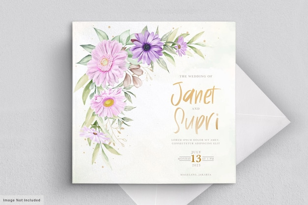 Carta di nozze impostata con morbido fiore di crisantemo
