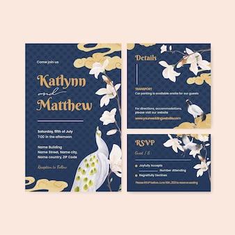 Modello di partecipazione di nozze con il concetto di uccello e fiore cinese, stile acquerello