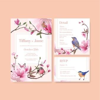 Modello di carta di nozze con disegno di fiori e uccelli