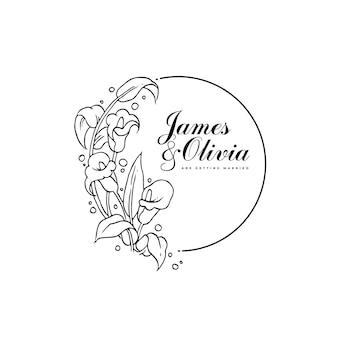Modello di partecipazione di nozze con bouquet disegnato a mano di fiori di giglio