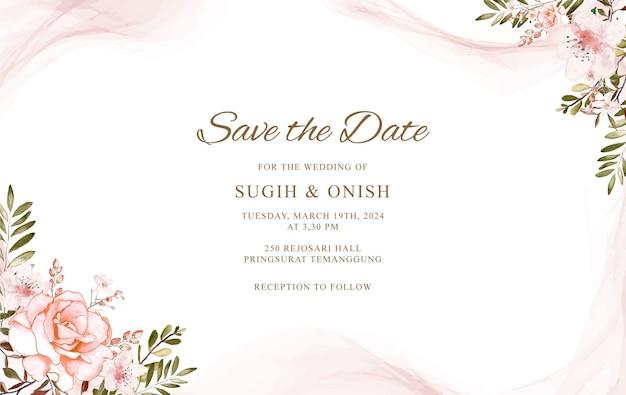 Modello di carta di nozze con acquerello floreale disegnato a mano