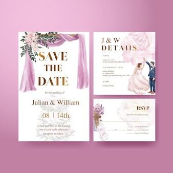 Modello di partecipazione di nozze con concetto di matrimonio viola lilla, stile acquerello